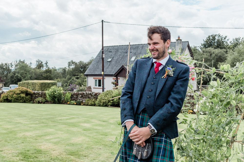 Groom Kilt Red Tie Scotland Garden Wedding LJ Horton Photography
