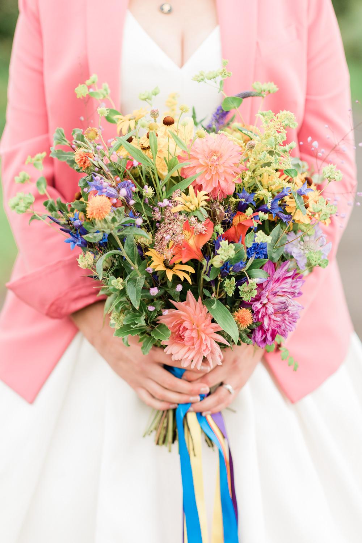 Bouquet Flowers Bride Bridal Colourful Rainbow Scotland Garden Wedding LJ Horton Photography