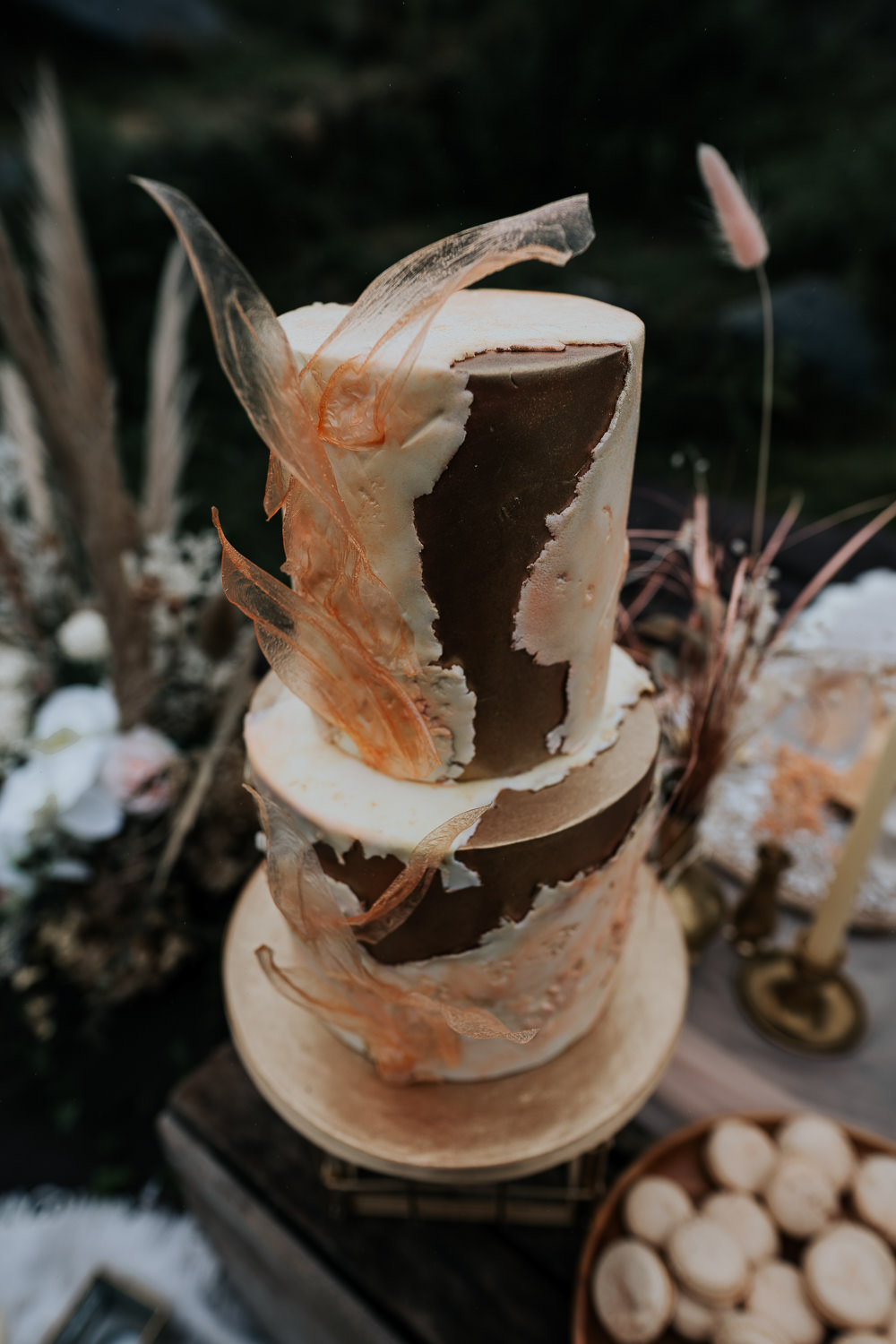 Modern Gold Cake UK Boho Elopement Jenny Appleton
