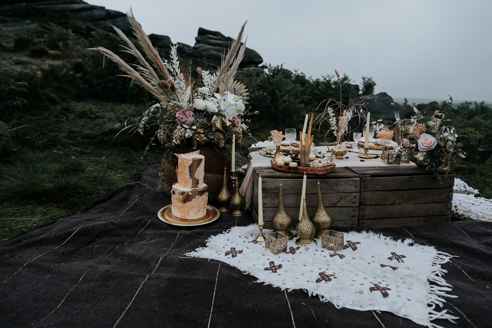 Picnic Table Set Up Decor UK Boho Elopement Jenny Appleton