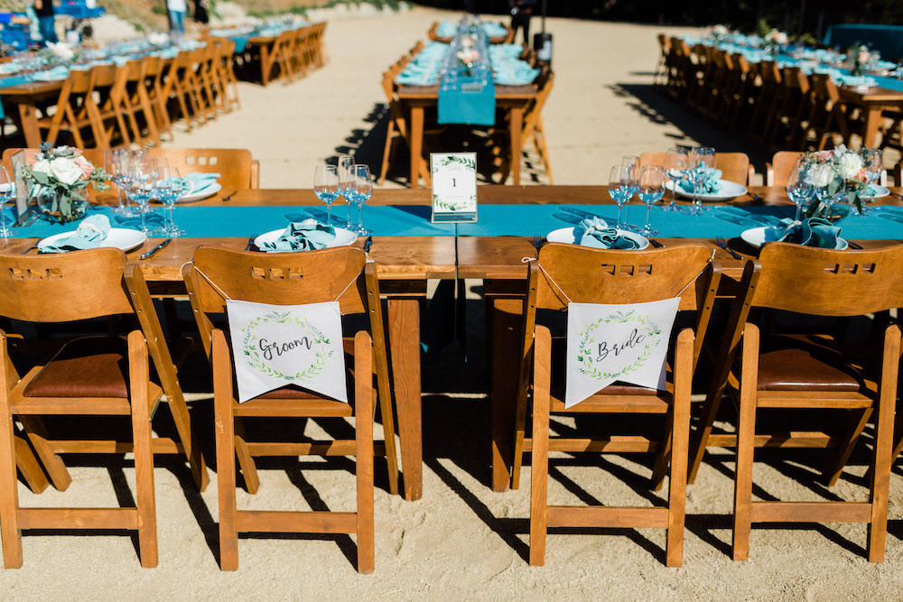 Chair Banners Signs Pacific Coast Wedding Mallory Miya Photography