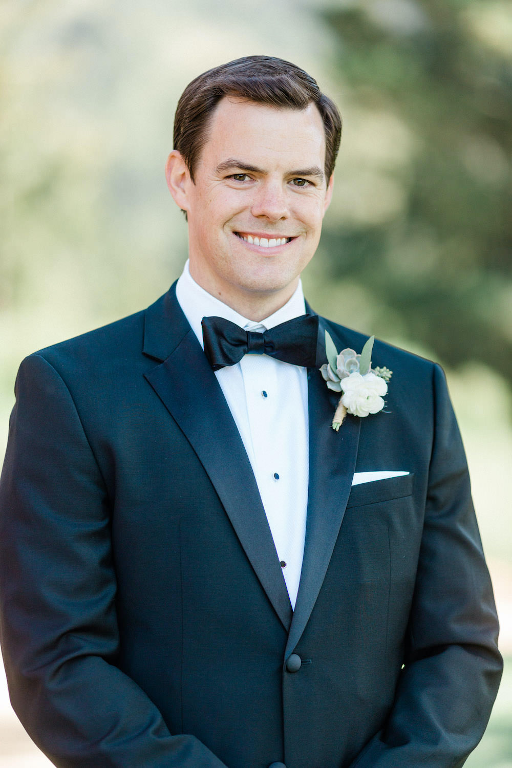 Groom Tux Tuxedo Suit Bow Tie Pacific Coast Wedding Mallory Miya Photography