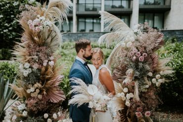Stylish Pink Wedding Ideas Luke Fotoliv Flower Arch Installation Backdrop Ceremony