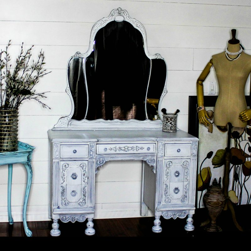 Painted white antique vanity - White Painted Antique Vanity/Dressing Table-Whimsy And Wood