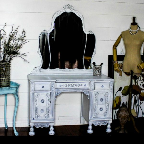 Painted white antique vanity