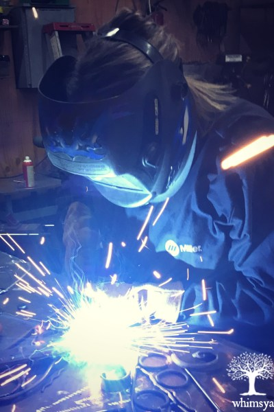 Welding with Gina Rossi-We working on my project