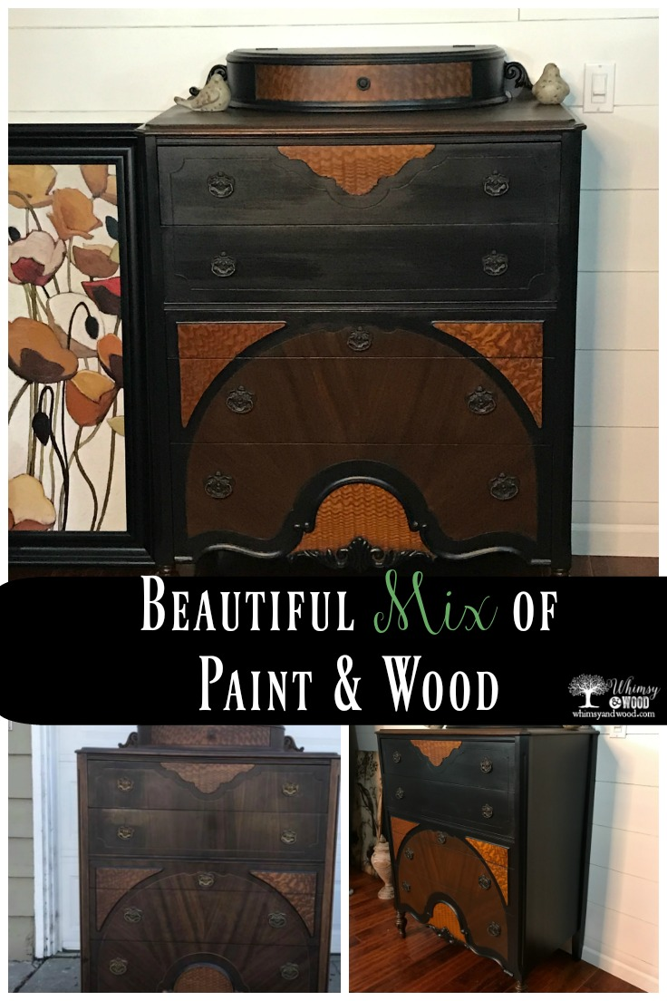 Before and after vintage Bassett dresser. I just love the look of wood and paint. keeping the old and freshening it up.