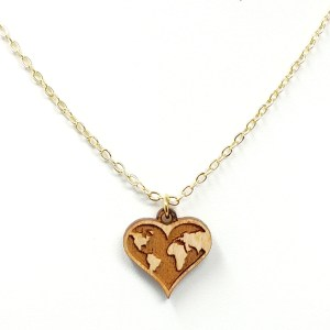 heart shaped world map necklace