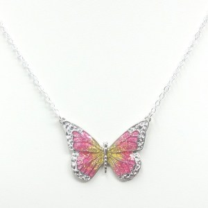 pink and yellow butterfly necklace