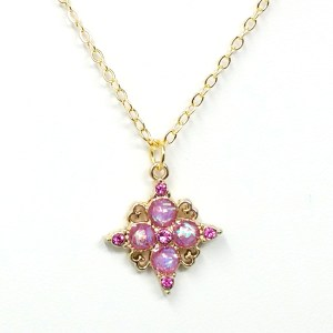 pink cubic zirconia necklace
