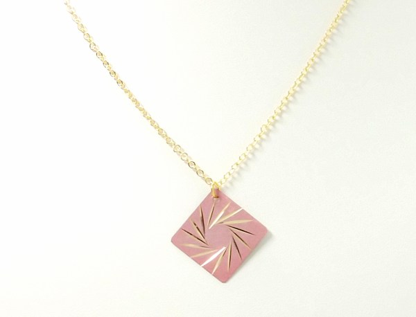 Pink Spiral Star Pendant Necklace