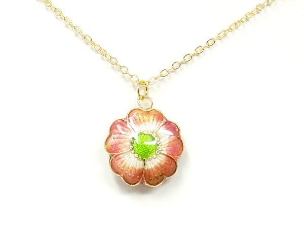 Pink flower cloisonne necklace