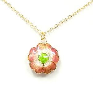 Pink flower cloisonne necklace