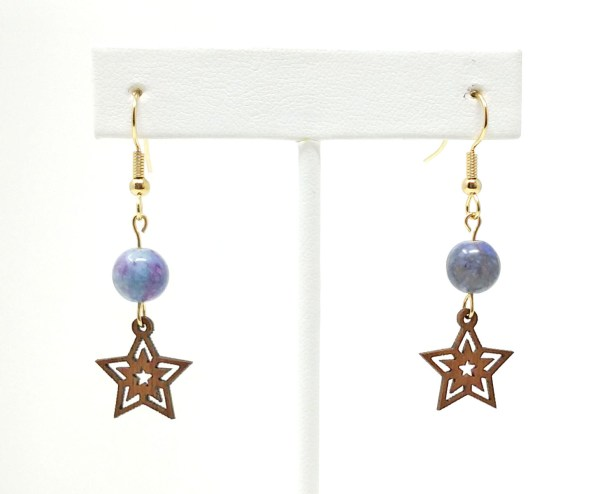 Wood Star Earrings with Crazy Lace Stone Beads