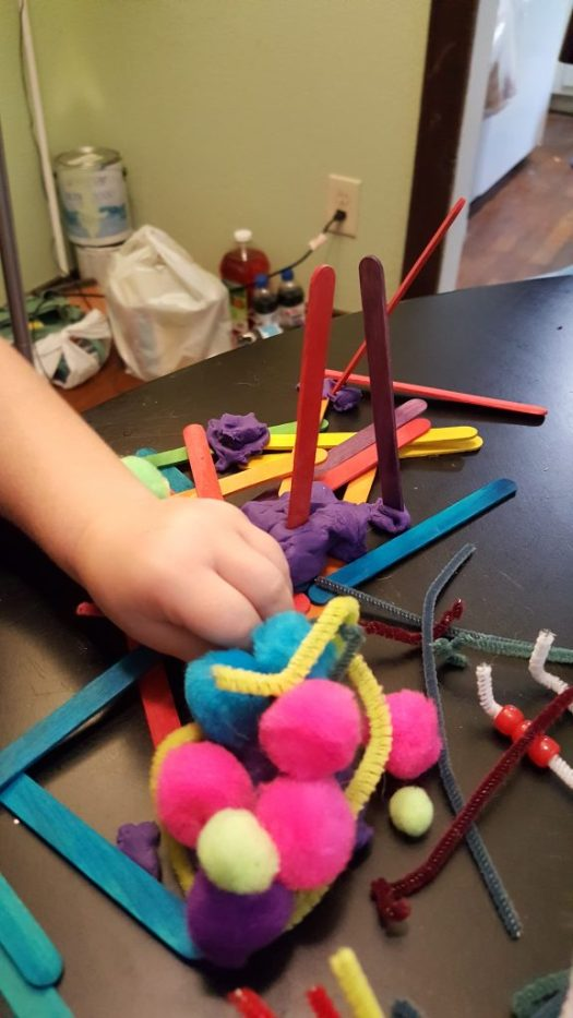 building a house with playdough