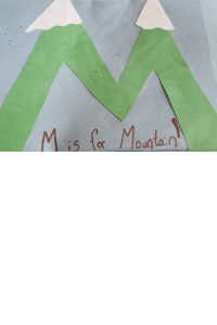 alphabet craft the letter M as a Mountain
