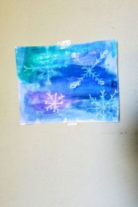 watercolor resist snowflake craft