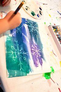 watercolor resist snowflake painting