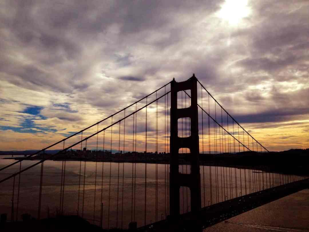 golden gate bridge at sunset and sunrise san francisco