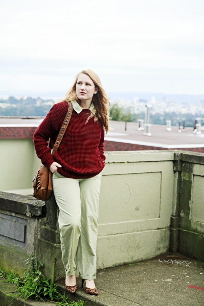 Red sweater and green jumpsuit - Whimsy Soul