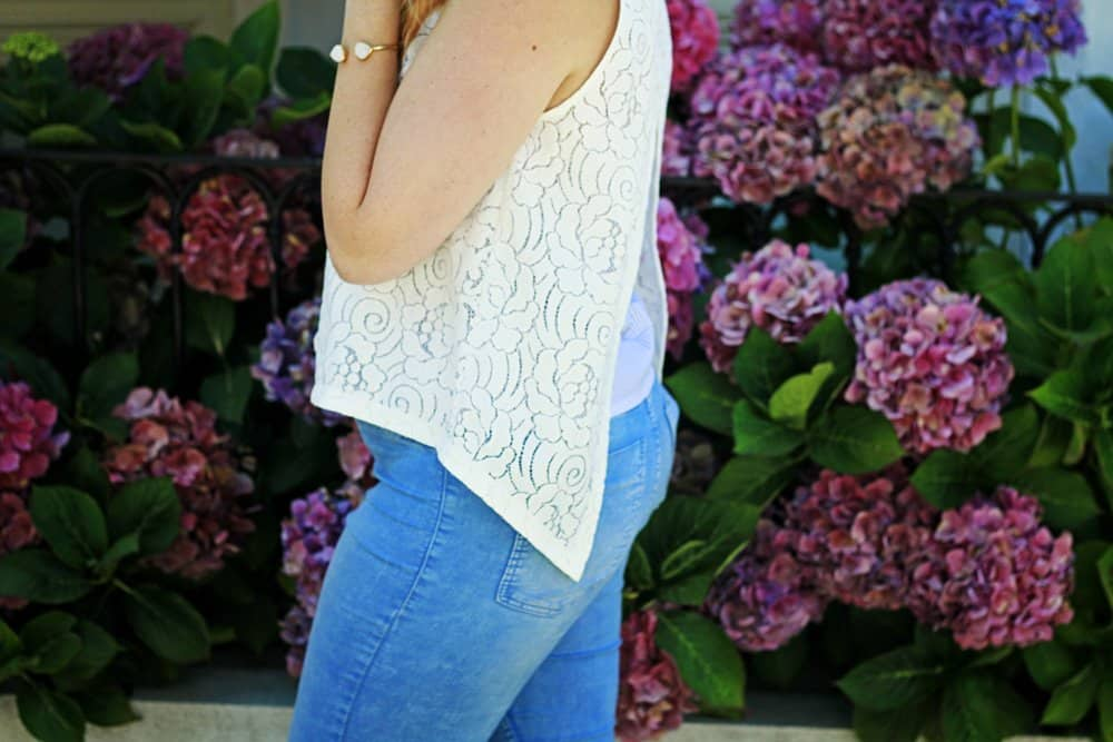 lace shirt with opening in back