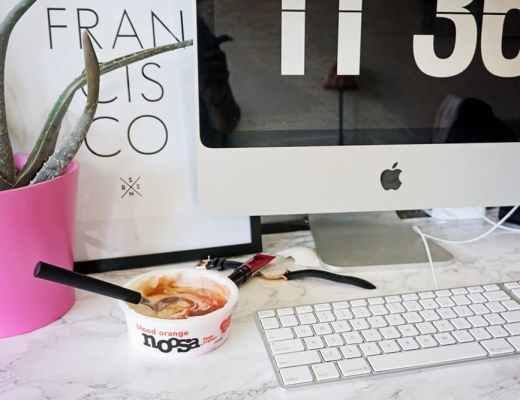 noosa yoghurt at the desk