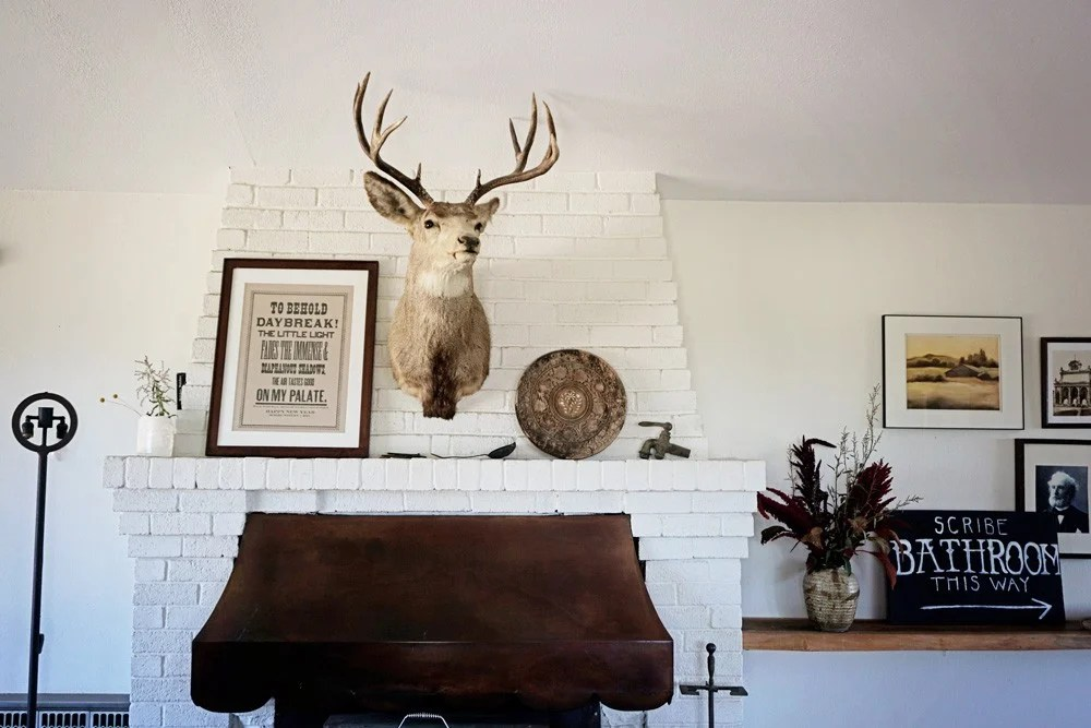 Scribe Winery decor, deer mantle piece, rustic winery decor