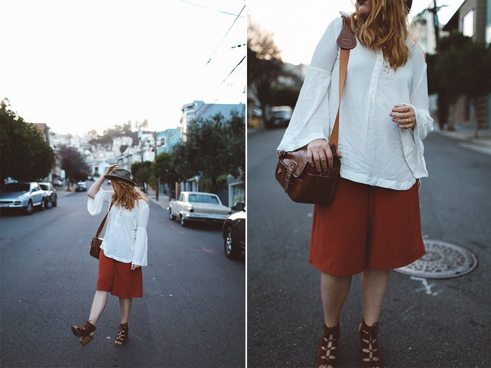 Orange Culottes Nordstrom, Bell Sleeve Top