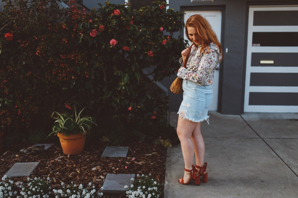 H&M denim skirt and floral top