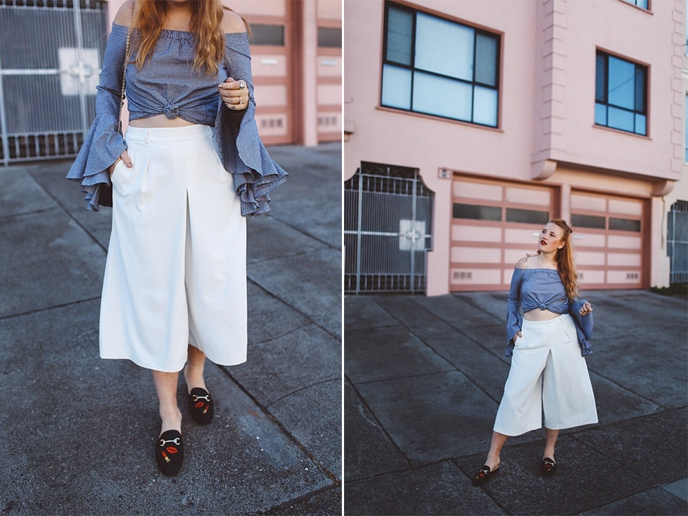 chicwish bellsleeve, white culotte pants, mules