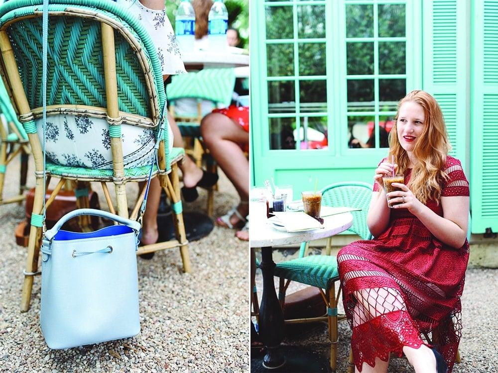red self portrait dress, blue bucket bag
