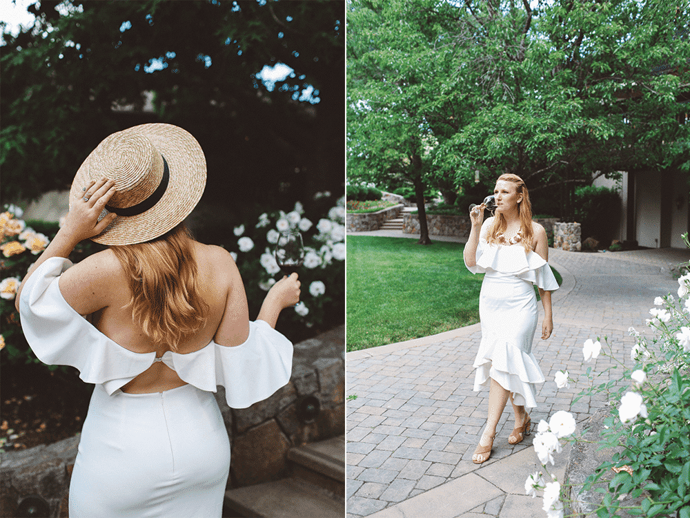 White Dress with open back and ruffles. Straw boat hat
