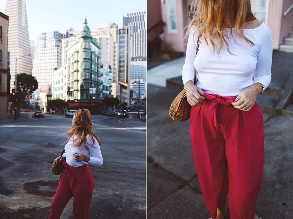 Pink paper bag pants asos, North Beach San Francisco