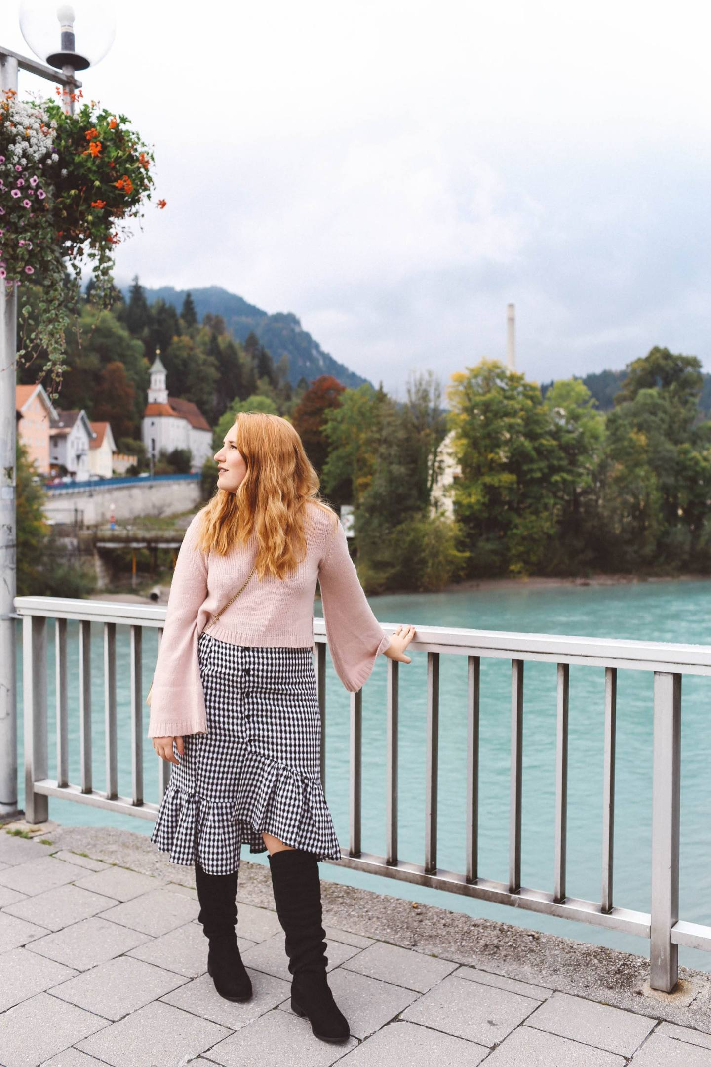Füssen, Germany pink sweater gingham skirt