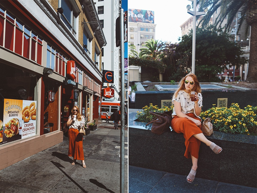 eye block print shirt orange pants