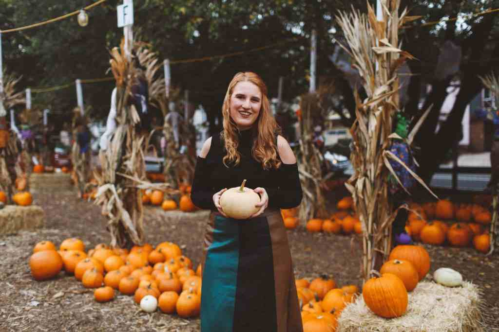 Who What Wear Pleated Skirt At The Pumpkin Patch