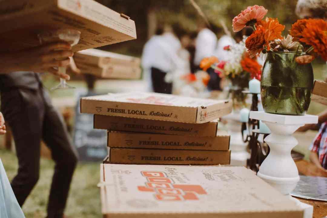 wedding pizza outdoor boho