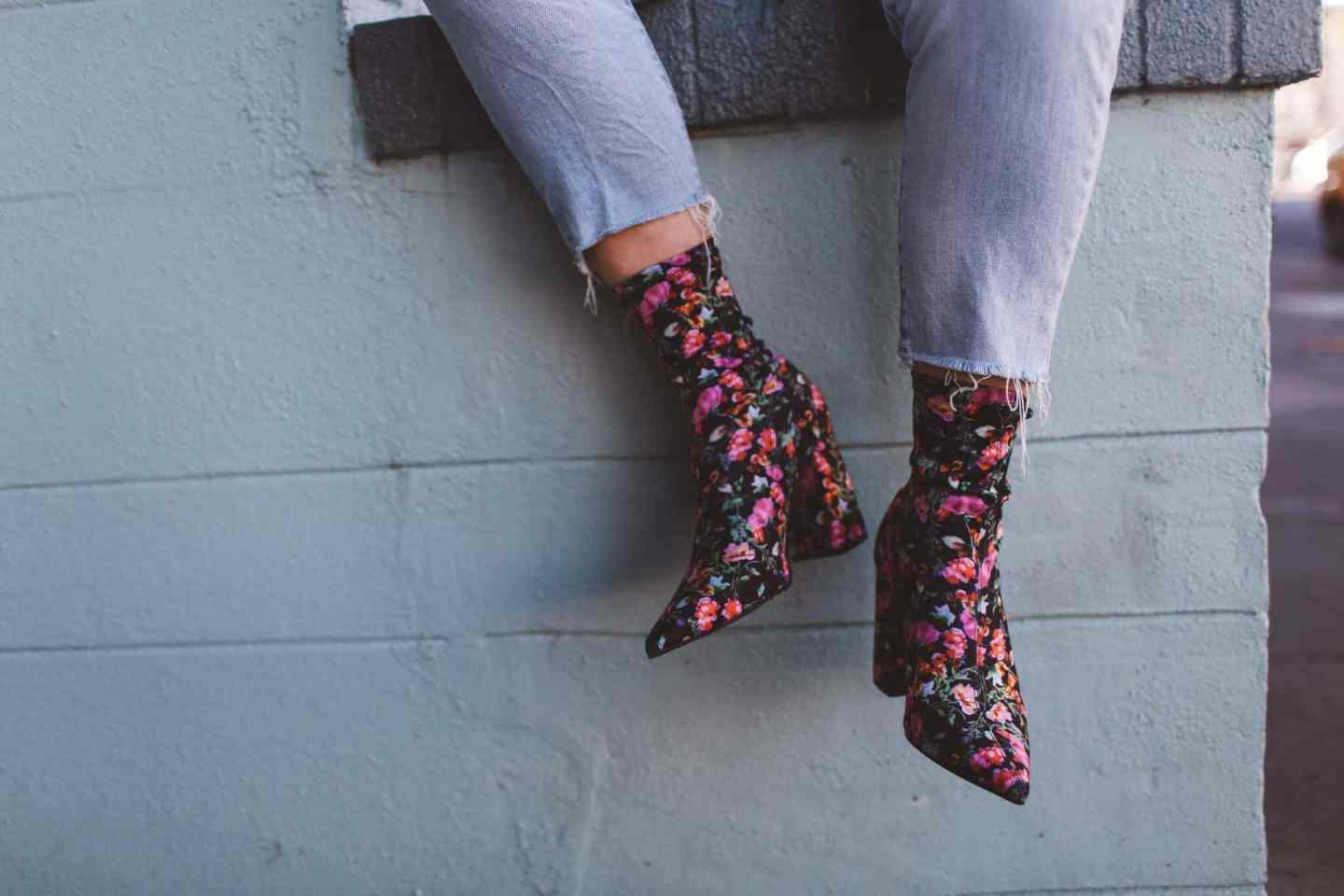 floral sock boots