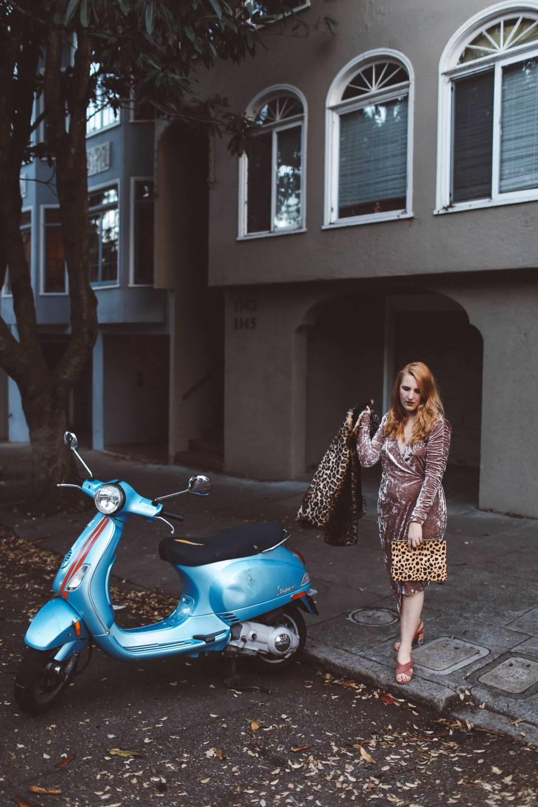 pink velvet dress leopard coat blue moped