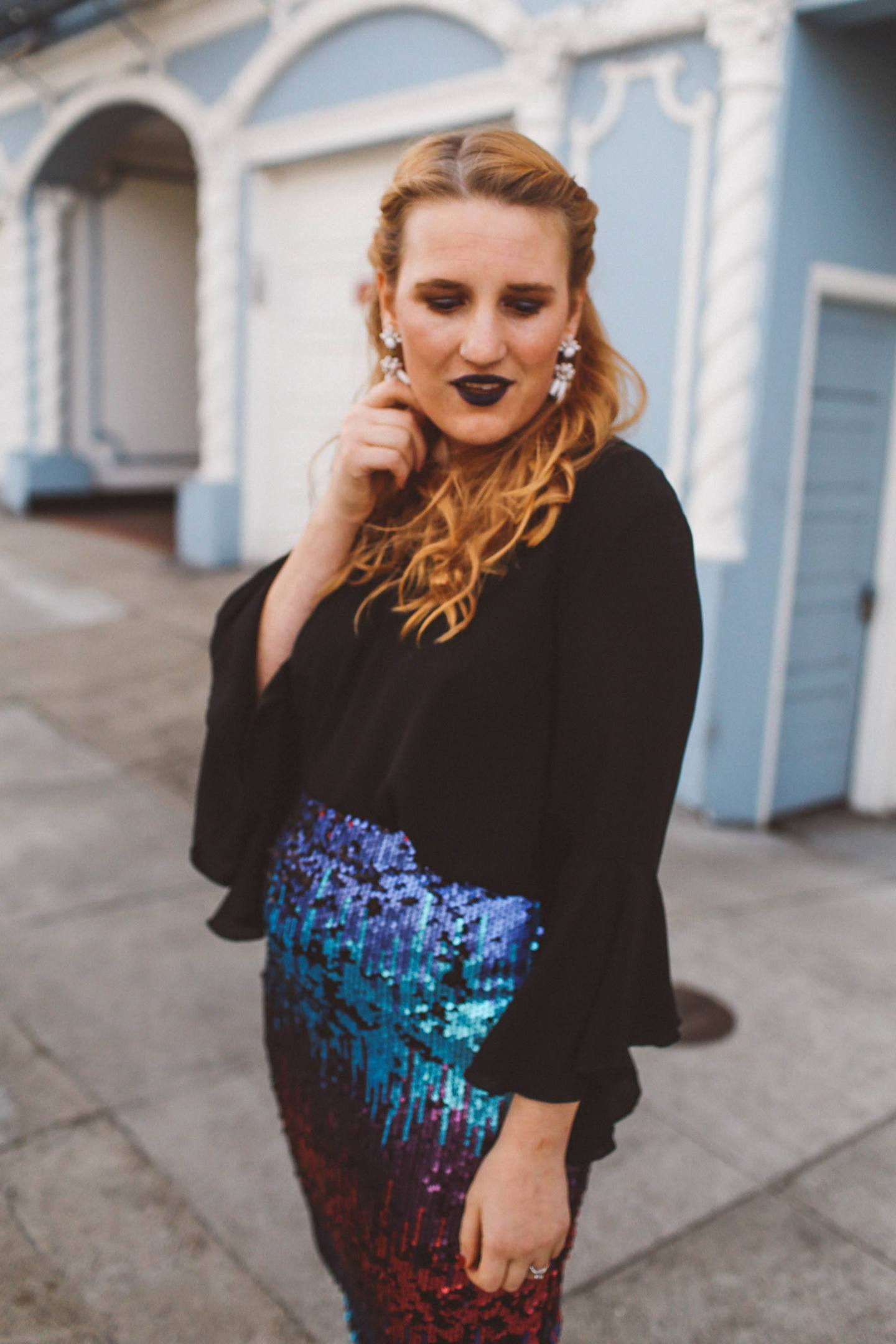 ombre sequin skirt