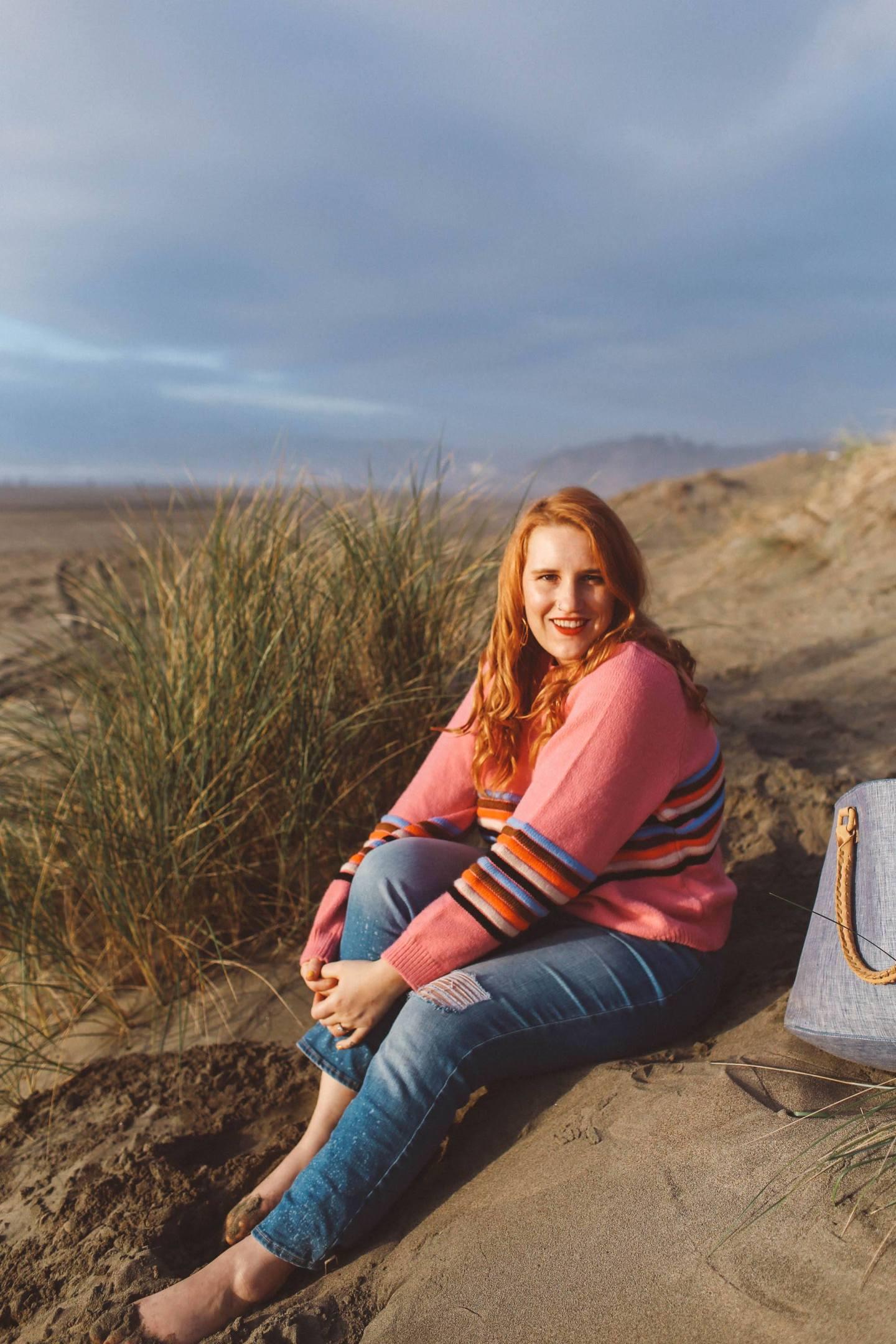 rainbow sweater womens, pink, stripe, beach