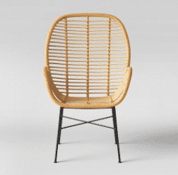 Lily Rattan Arm Chair with Metal Legs