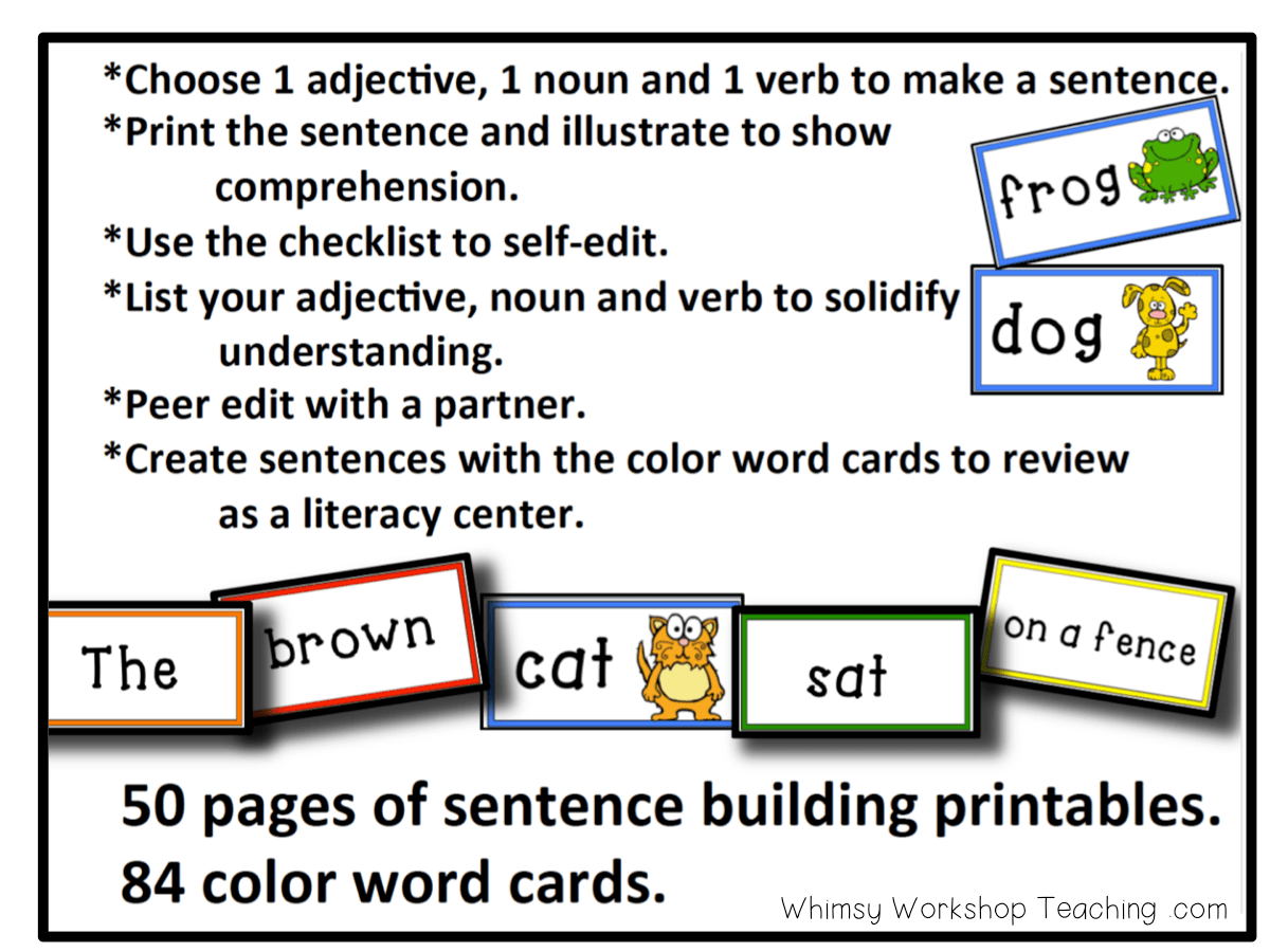 80 Sentence Building Cards That Are Color Coded To