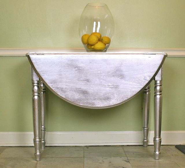 Metallic Painted Drop Leaf Table Whipstitch