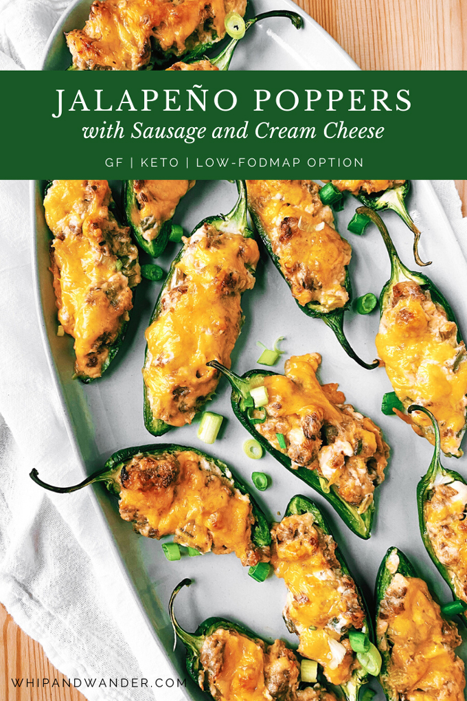 Jalapeno Poppers with Sausage and Cream Cheese on a white plate with a green text banner