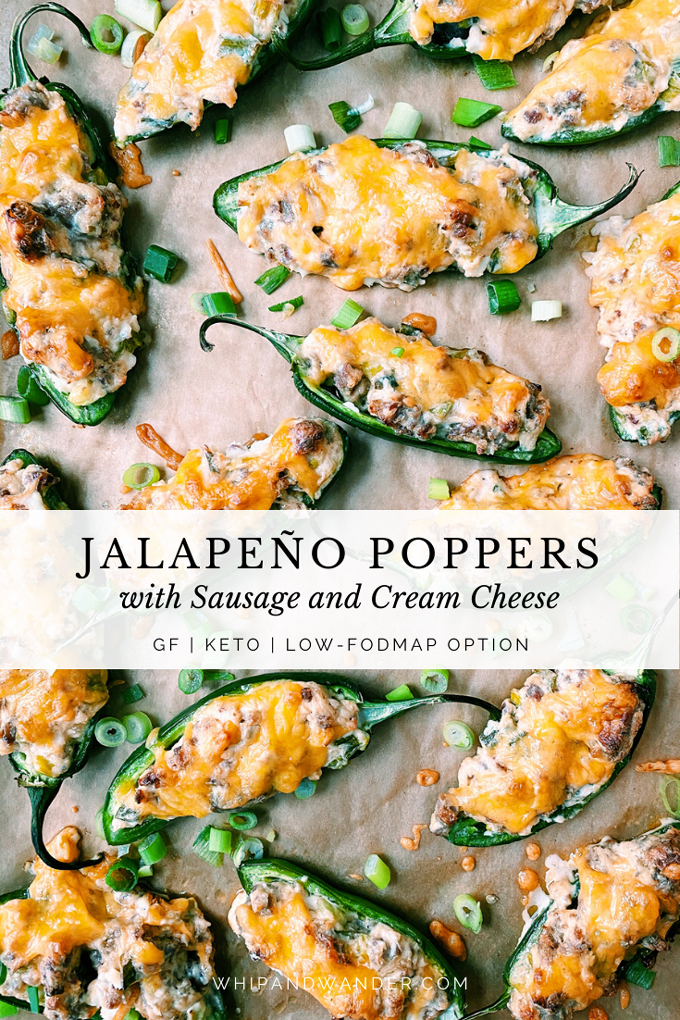 a tray of Jalapeno Poppers with Sausage and Cream Cheese with a text banner over the top in white