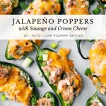Jalapeno Poppers with Sausage and Cream Cheese on a white plate with green onions sprinkled on top