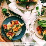 slices of kitchen sink frittata with tomatoes, cilantro, and avocado toppings on a white towel