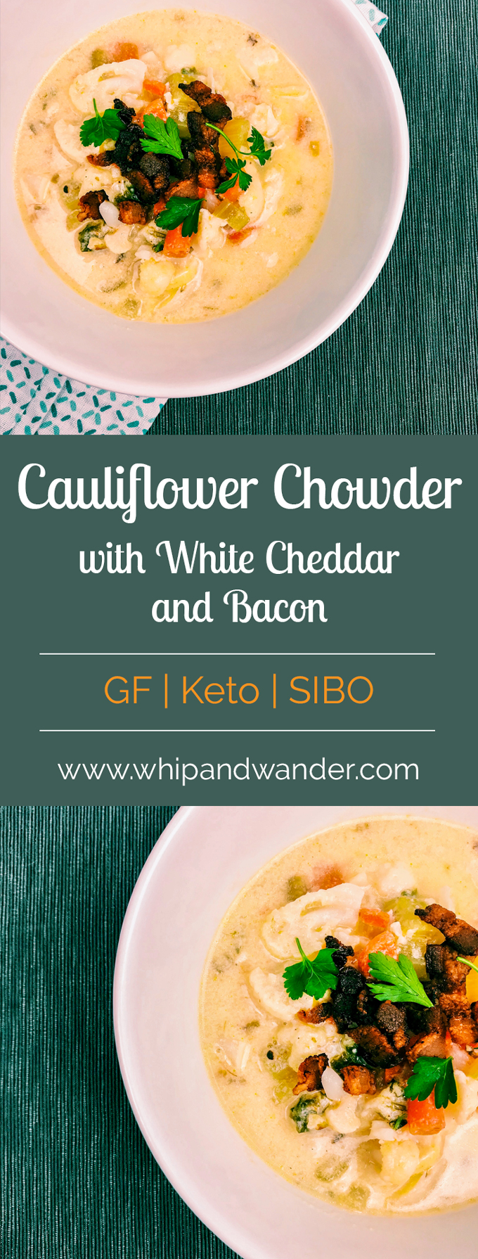 Cauliflower Chowder with White Cheddar and Bacon