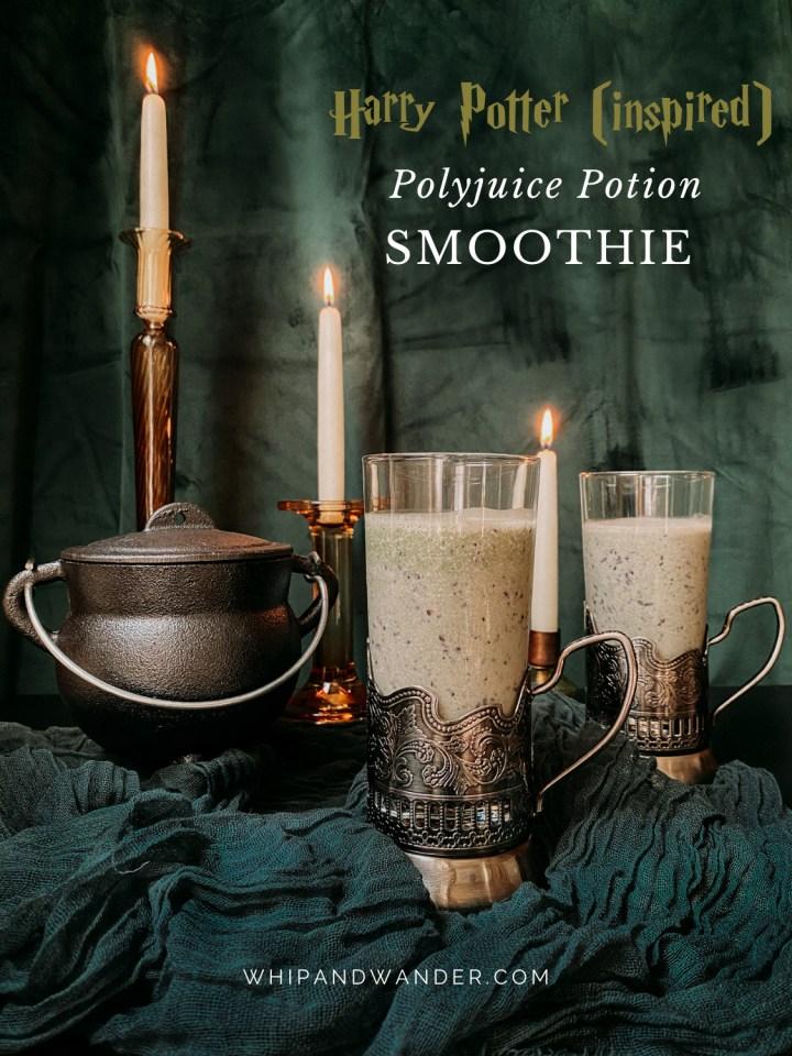 a cast iron cauldron next to two glasses of Polyjuice Potion Smoothie